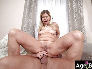 Granny Samantha lets Mugur in and out of her twat before he cums