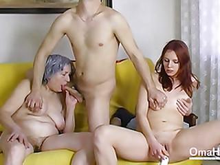 OmaHoteL Bare Couple and Granny Fucktoys Threesome