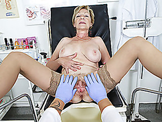 big boob S/M bush grandma gets rough pov fingered and fucked by her doctor