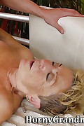 Wrinkled old blonde deep throats cock