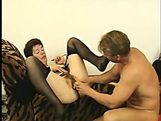 Hairy Granny in Stockings Fucks Again