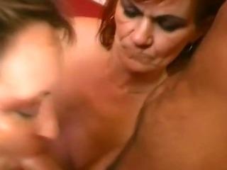 Redhead granny sharing a fresh cock