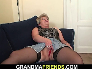 Hairless cunt old grandma swallows 2 dongs