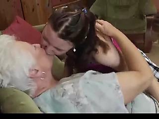 Old 'n juvenile lesbian babes take a licking