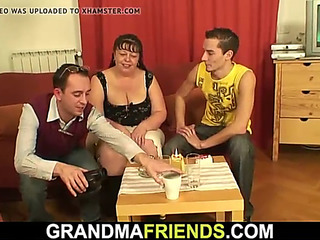 Lush older sweetheart swallows 2 dicks at one time