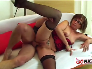 Nerdy old gilf jana takes advantage of a promiscuous lad by taking his weenie
