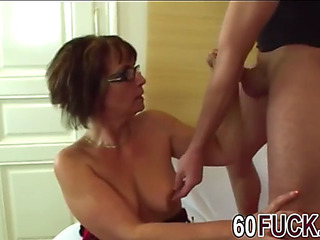 Old lady jana receives drilled after giving sloppy oral sex to junior lad