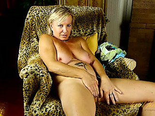 Interviewing older chick disrobes to play with her snatch
