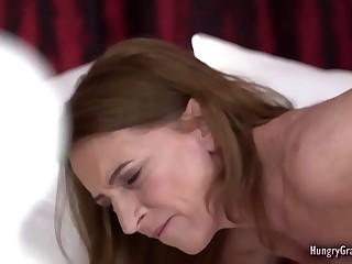 Horny redhead grandma plumbed by a man half her age