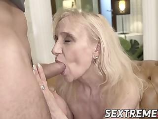 Grandma seduces junior stud into sultry sex