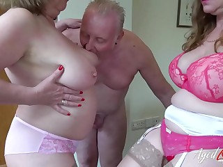 AgedLove Lily and Trisha in rock hard three-way with boyfriend