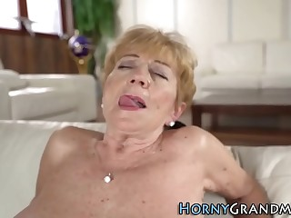 Busty granny frigged and pounded