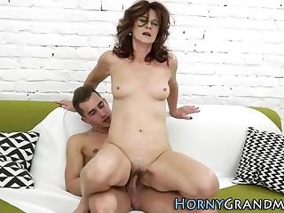Old grandma takes creamy cumshot