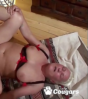 Fat Old Granny Has Her Face Coated In Jizz