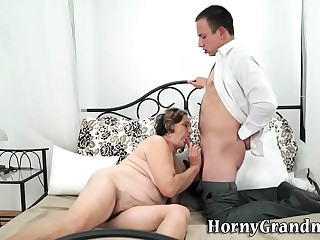 Gran with hairy cunt sucks and fucks