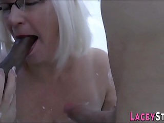 Cream covered grandmother gets plowed