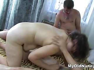 Ugly grandma and a chubby slut get ravished