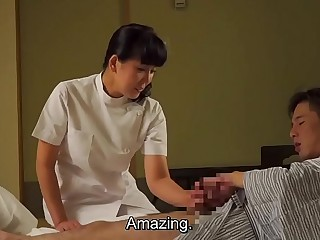 Mature Japanese masseur gives client handjob Subtitles