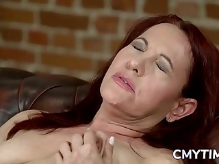 Meaty redhead grandma ravished by a stud