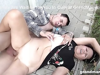 CFNM Hot Granny Takes Young Cock in Public!