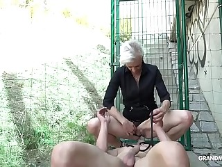 Female domination Skinny Granny Fucks Twink Slave in Public!