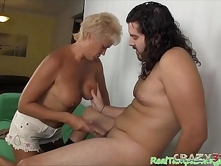 Granny gives awesome deepthroat blowjob