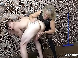 Grandma masturbates young cock