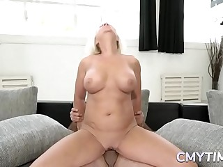 Horny granny likes to fuck hard with a big shaft
