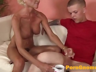 Mature woman helps midget guy jerk dick