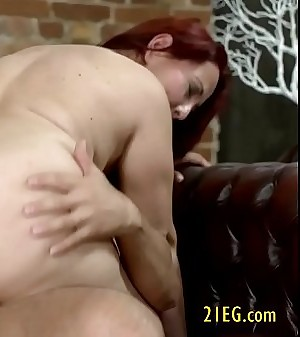 Old redhead riding hard hard-on