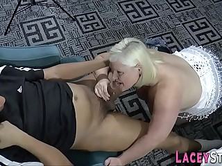 Grandma tit fucks cock