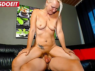 LETSDOEIT  German Pierced Mature Blonde Rides A Younger Dick At Home