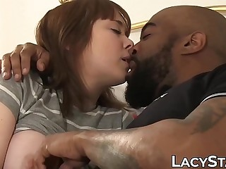 BBW Lacey Starr joins interracial three-way fuck