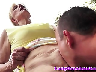 Saggy european granny cockriding outdoors