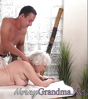 Old granny takes facial