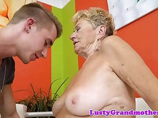 Round euro granny gets hairy pussy banged