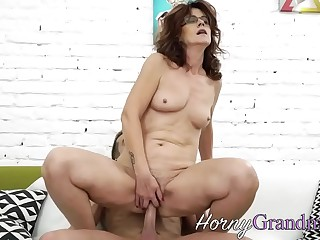Wild granny riding and deep throating