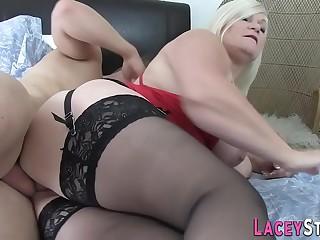 Fingerbanged british granny sucks cock