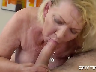 Ash-blonde Gilf pounded by a stud half her age